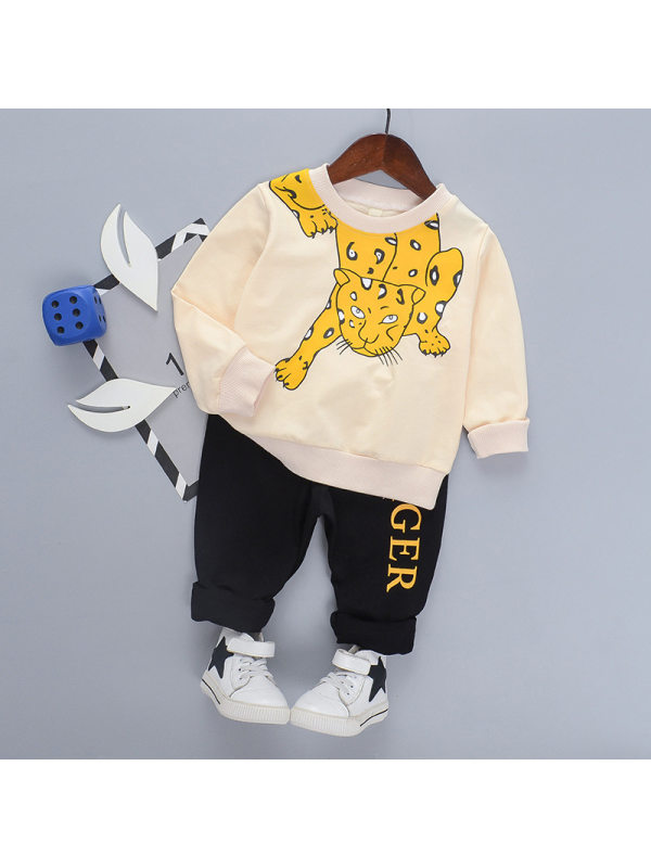 【18M-7Y】Boy's Animal Print Long Sleeve Two-piece Suit