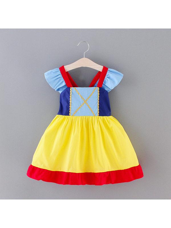 【18M-7Y】Girls Contrast Stitching Princess Dress