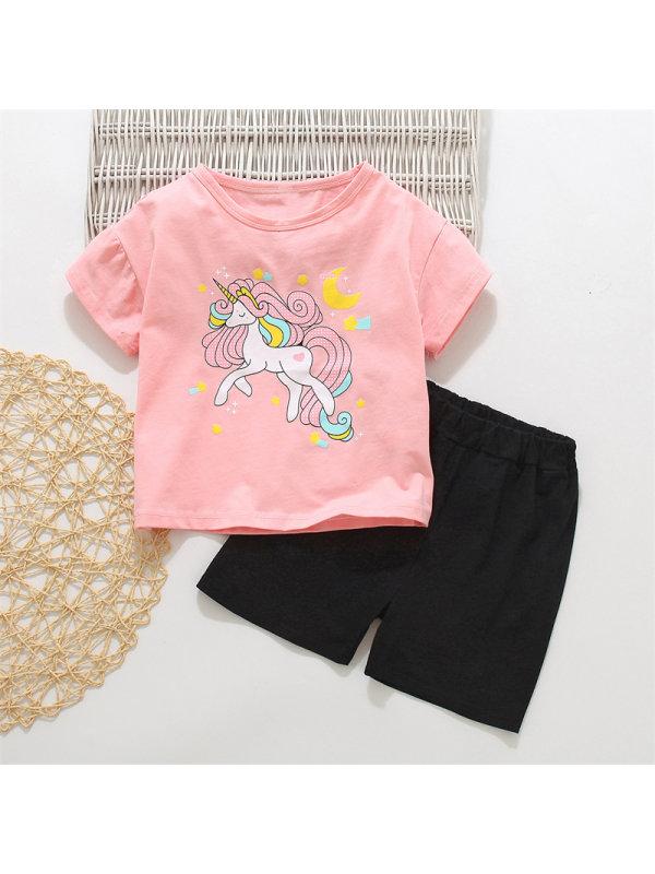 【18M-7Y】Girl Cartoon Unicorn Print Suit