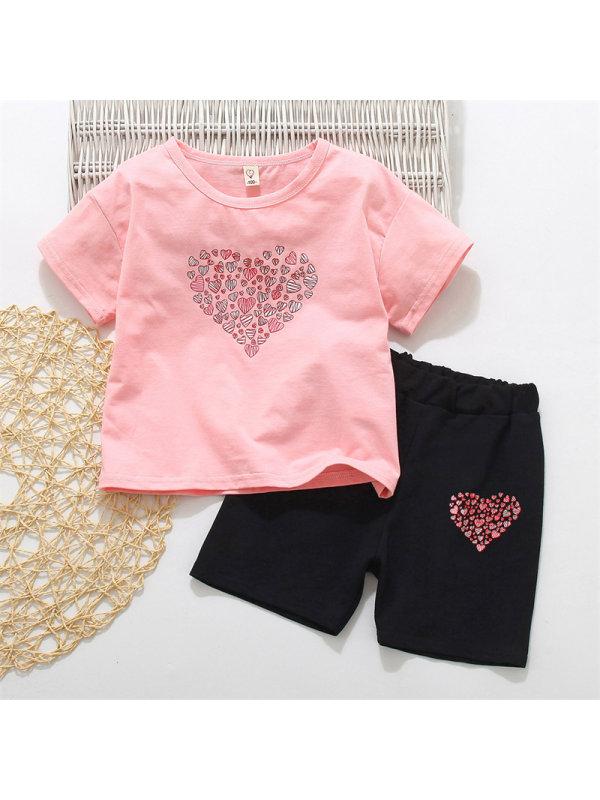 【18M-7Y】Girls Love Print T-shirt Shorts Set