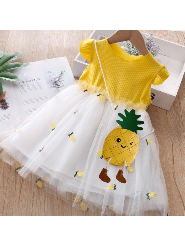 【18M-7Y】Girls Short Sleeve Pineapple Mesh Dress