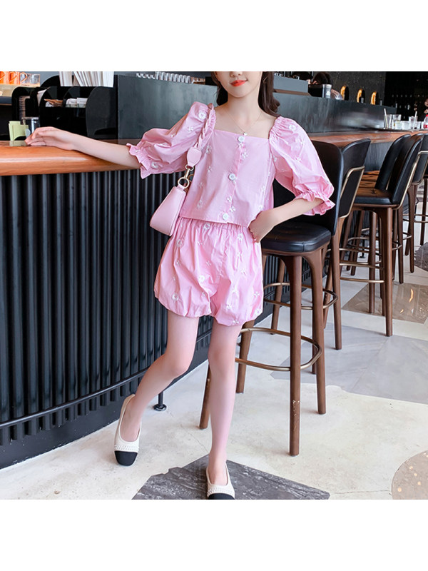 【3Y-13Y】Girl Casual Embroidery Short Sleeve Puff Sleeve Two-piece Suit