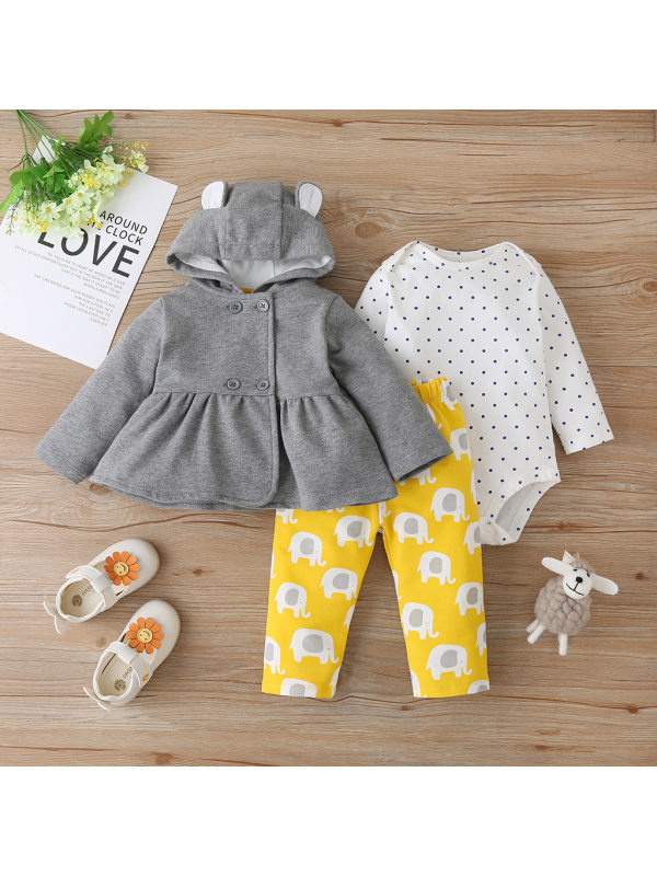 【6M-2.5Y】Baby Polka Dot Leisure 3-piece Suit