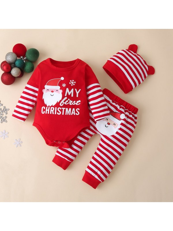 【6M-3Y】Baby Christmas Cartoon Print Long-sleeved Romper With Striped Trousers And Hat Three-piece Suit