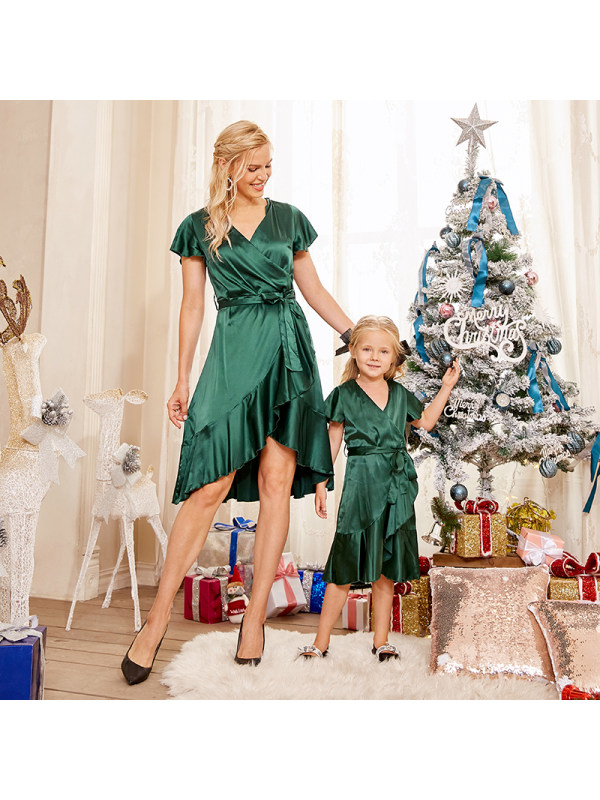 Irregular Shawl Collar Cap Sleeve Green Stain Mom Girl Matching Dress - 1344