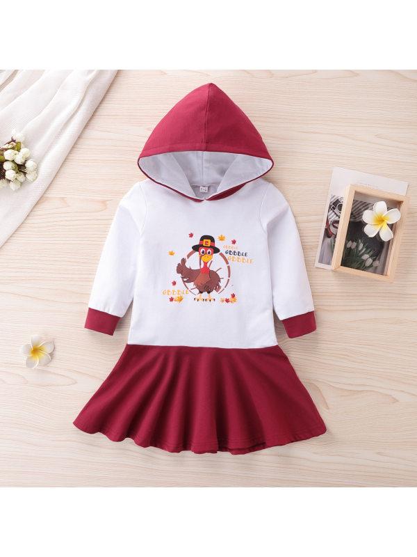 【18M-7Y】Girl's Cartoon Print Long-sleeved Hooded Dress