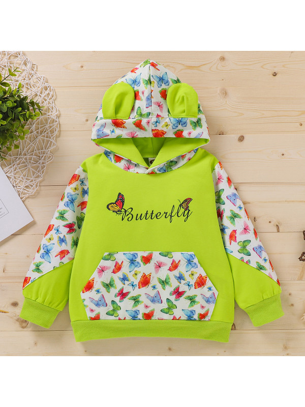 【18M-7Y】Girl's Hooded Letter Print Stitching Butterfly Long-sleeved Sweatershirt