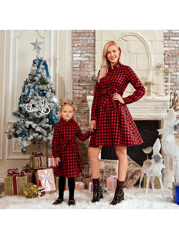 Classic Red Plaid Cotton Blends Long Sleeve Mom Girl Matching Dress