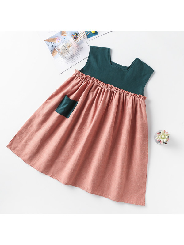 【3Y-13Y】Girls Square Neck Sleeveless Contrast Dress