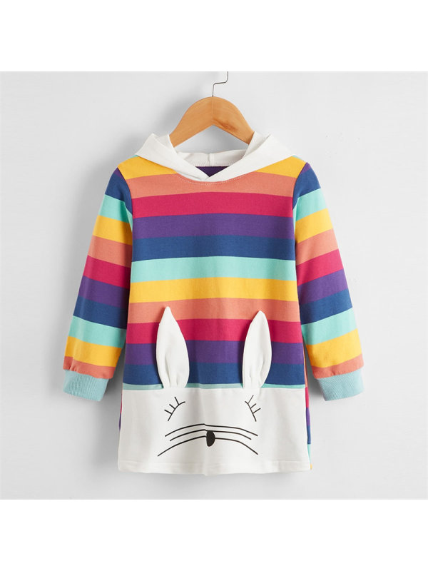 【18M-7Y】Girls Rainbow Striped Rabbit Hooded Sweatershirt Dress