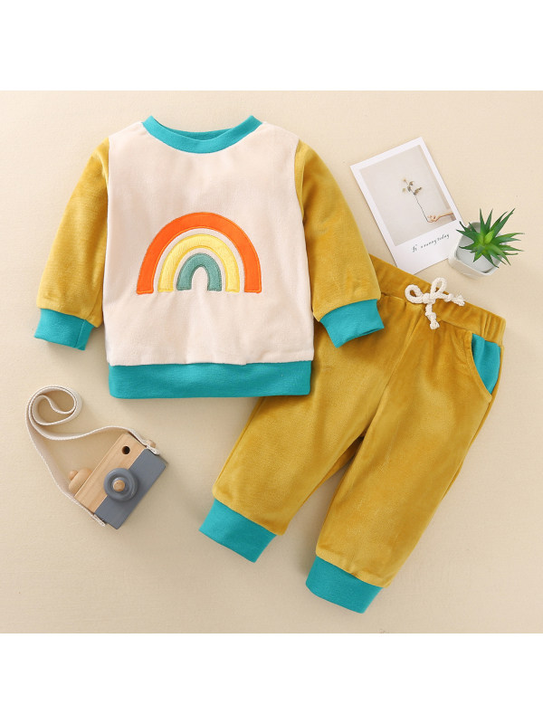 【6M-4Y】Cute Rainbow Embroidered Long Sleeve Velvet Set