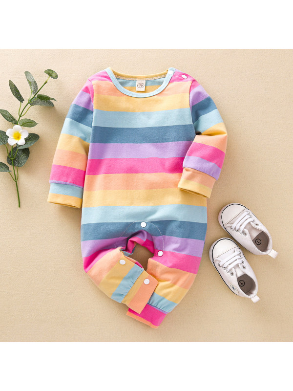 【6M-3Y】Cute Rainbow Striped Long Sleeve Romper