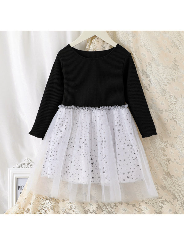 【18M-7Y】Girl Sweet Star Print Long Sleeve Dress