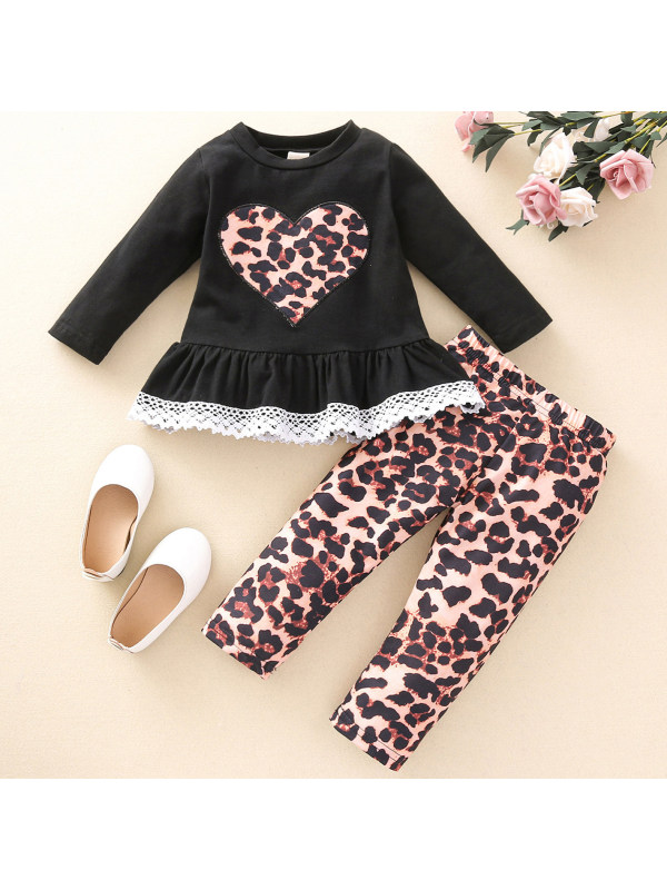 【12M-5Y】Girls Sweet Heart-shaped Embroidered Top And Pants Set