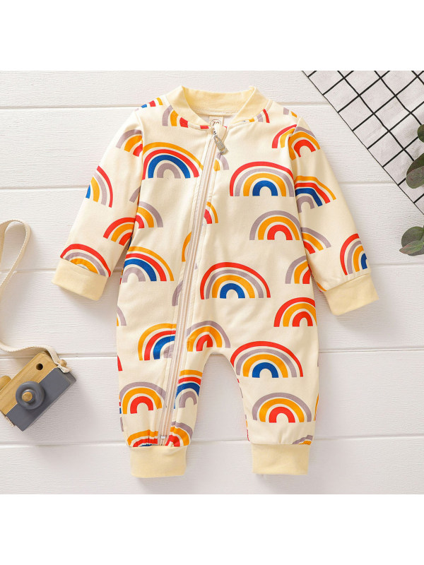 【6M-3Y】Cute Rainbow Print Long Sleeve Romper