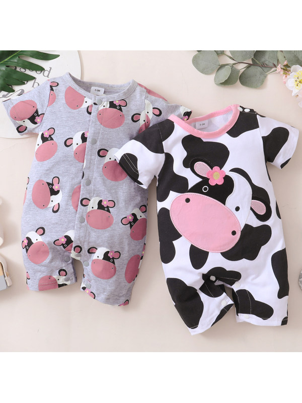 【0M-18M】Cute Cartoon Cow Print Short Sleeve Romper