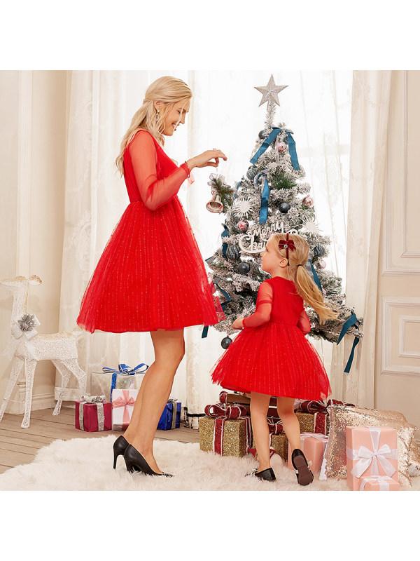 Round Neck Long Sleeve red Mesh Mom Girl Matching Dress