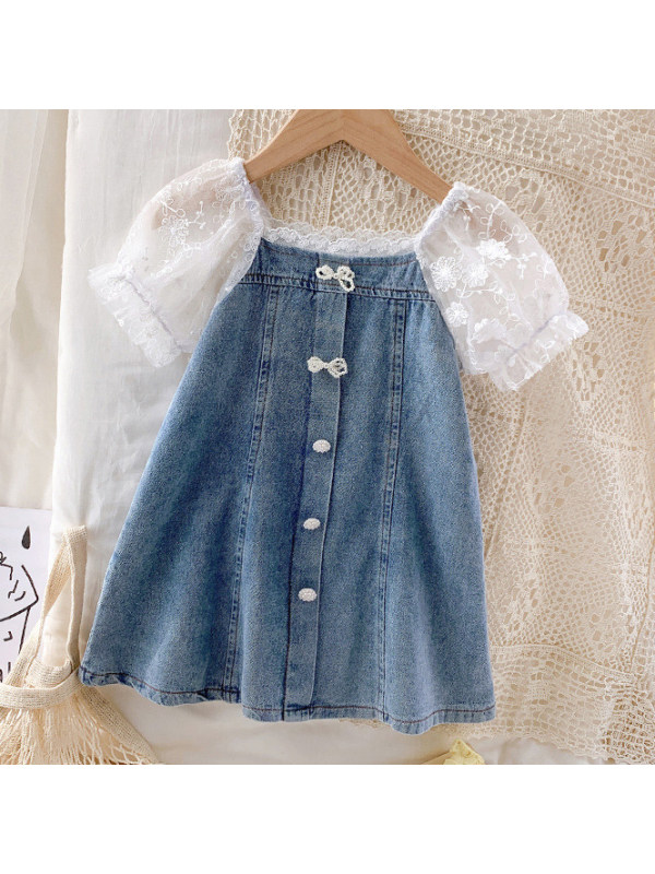 【18M-9Y】Sweet Lace Sleeves Light Blue Denim Dress - 33119