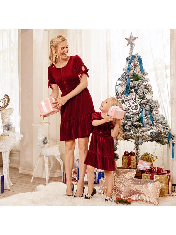 Fashion Round Neck Short Sleeve Red Velvet Mom Girl Matching Dress