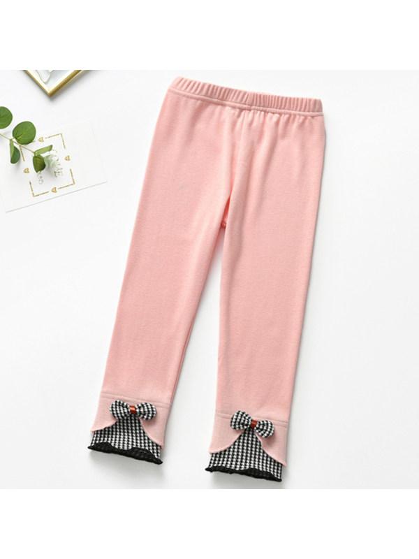 【2Y-9Y】Girl Sweet Pink Bow Leggings