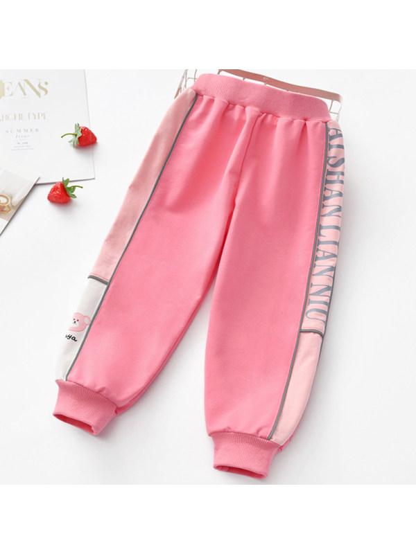 【2Y-9Y】Girl Sweet Pink Letters Pattern Pants
