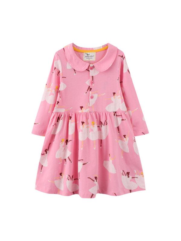 【12M-7Y】Girls Lapel Cartoon Print Long-sleeved Dress