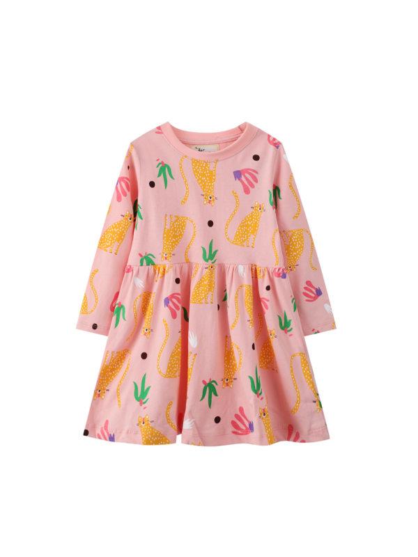 【12M-7Y】Girls Animal Print Long Sleeve Dress