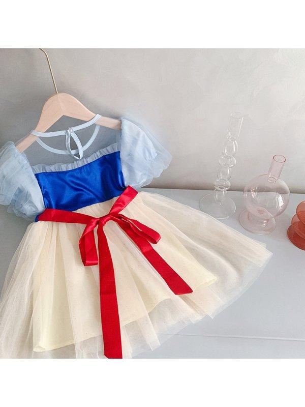 【3Y-9Y】Girls Puff Sleeve Net Gauze Skirt Bow Dress