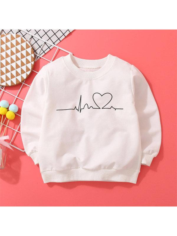 【18M-7Y】Girls Heartbeat Pattern Printing Long-sleeved Round Neck Sweatshirt