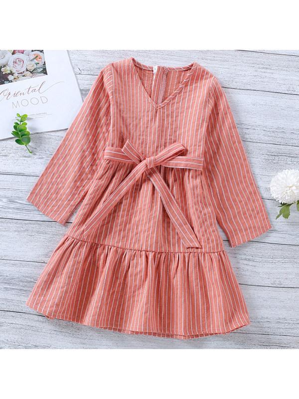 【18M-7Y】Girl Sweet Pink Striped Long Sleeve Dress