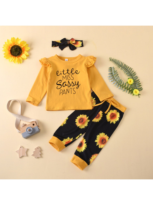 【12M-5Y】Girls Round Neck Letter Print Long-sleeved T-shirt With Small Chrysanthemum Pants Suit