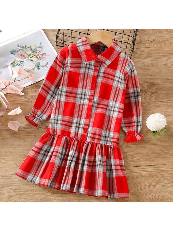 【18M-7Y】Girl Sweet Red Plaid Long Sleeve Dress