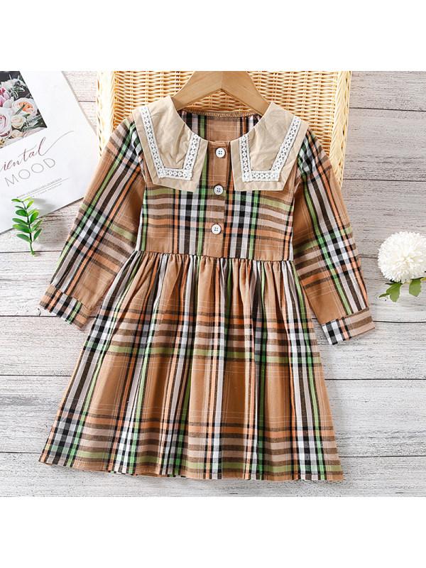 【18M-7Y】Girl Sweet Yellow Plaid Long Sleeve Dress