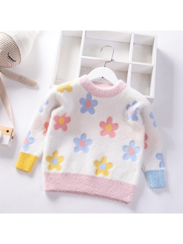 【2Y-9Y】Girls Mink Velvet Jacquard Sweater