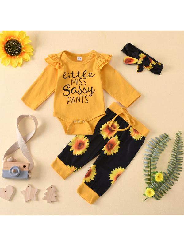 【3M-18M】Baby Girl Round Neck Letter Print Long Sleeve Romper With Chrysanthemum Pants Set