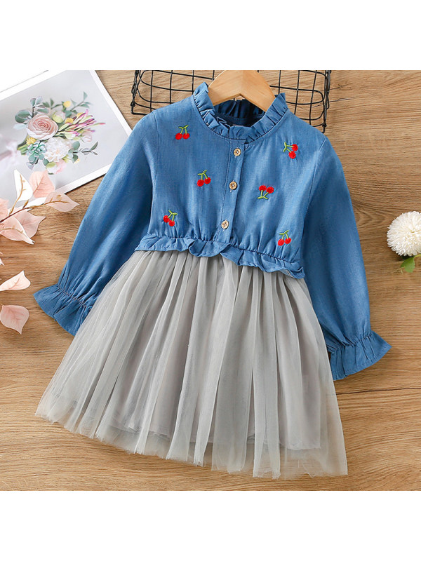 【18M-7Y】Girls Sweet Denim Embroidered Long Sleeve Mesh Dress