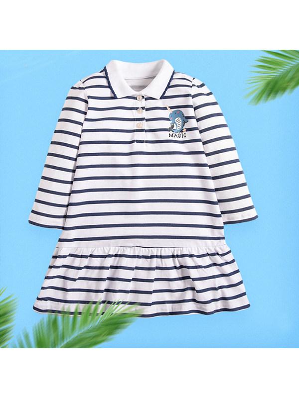 【18M-9Y】Girls Striped Lapel Long Sleeve Dress