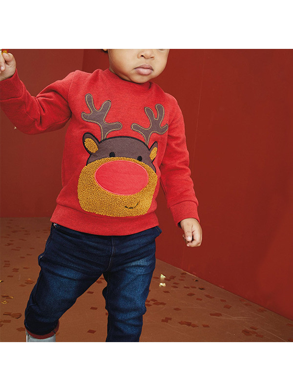 【18M-9Y】Boys' Cartoon Embroidered Long-sleeved Sweatershirt