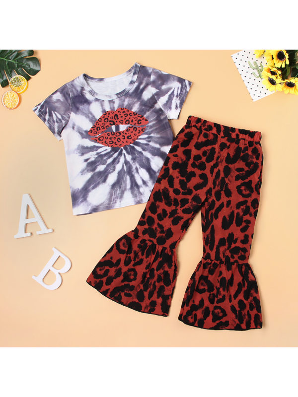 【12M-5Y】Girls Leopard Print Short-sleeved Top And Trousers Two-piece Suit
