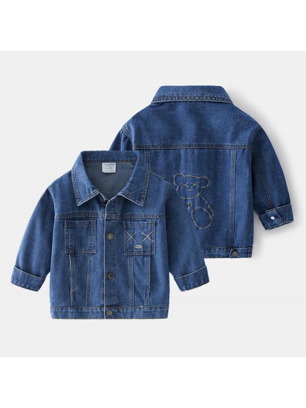 【18M-7Y】Boys Embroidered Denim Jacket