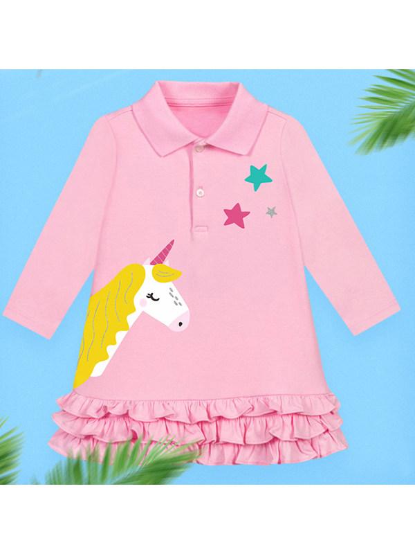 【18M-9Y】Girls Unicorn Print Lapel Long Sleeve Dress