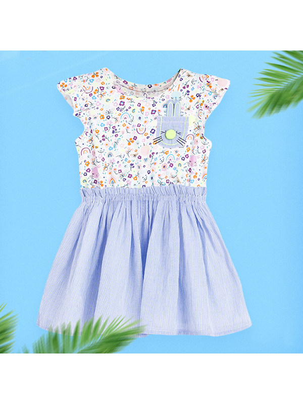 【18M-9Y】Girls' Contrast Color Stitching Printed Dress