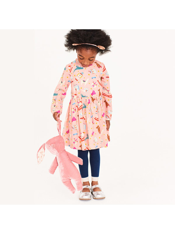 【18M-7Y】Girls Cartoon Print Knitted Long-sleeved Dress