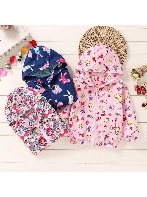 【18M-9Y】Girls Cartoon Print Hooded Jacket