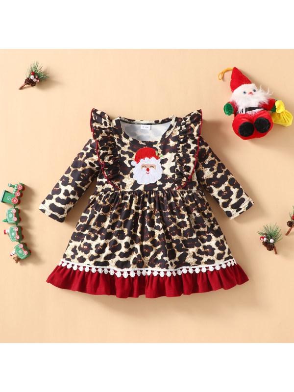 【3M-24M】Girls Long-sleeved Santa Leopard Dress