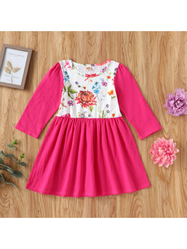 【18M-7Y】Girls Long-sleeved Stitching Rose Pink Floral Woven Dress