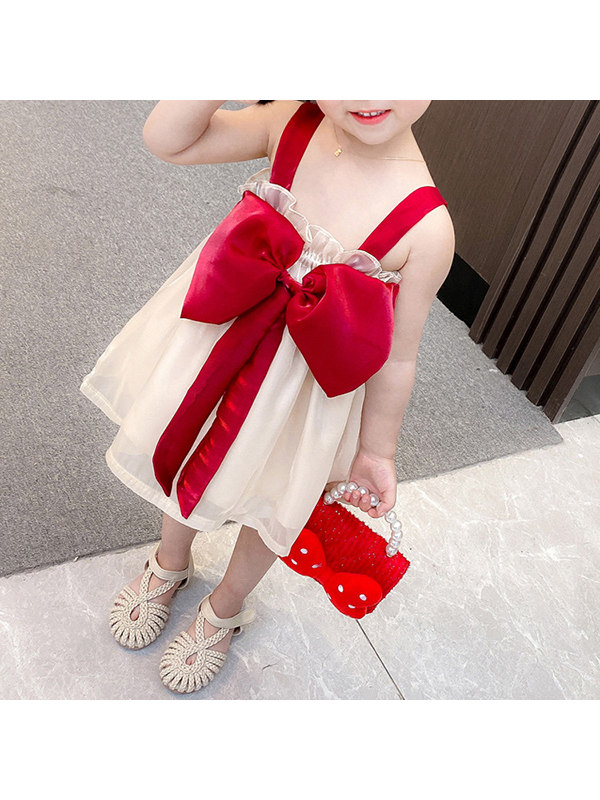 【12M-5Y】Girls Sling And Bow-knot Dress Gauze Skirt