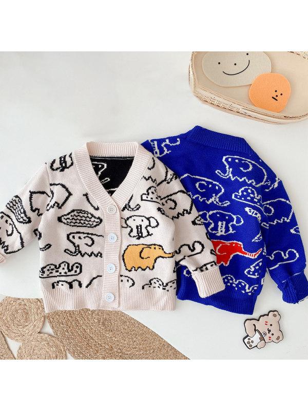 【6M-5Y】Boys Elephant Sweater Knitted Cardigan Jacket