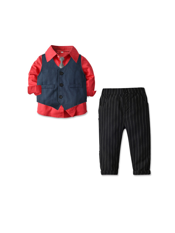 【18M-7Y】Boy's Three-piece Long Sleeve Shirt Waistcoat Trousers