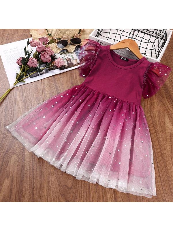【18M-7Y】 Girls Star Gradient Mesh Dress